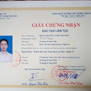 Chứng nhận đào tạo chuyên Nam Khoa khóa đầu tiên của BV Việt Đức